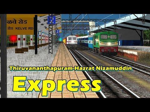 Thiruvananthapuram - Hazrat Nizamuddin SF Express In MSTS Open Rail