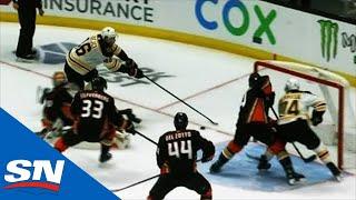David Krejci Dekes Ducks Goalie Out Of His Pants For Jake DeBrusk To Score