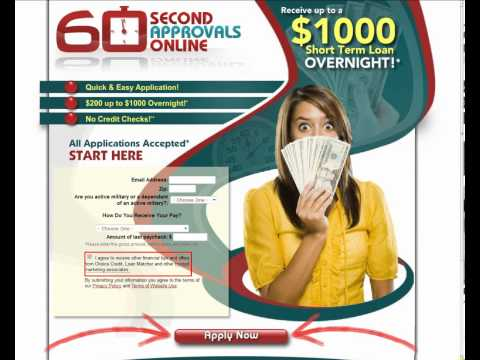 Receive up to a $1000 Short Term Loan Overnight!