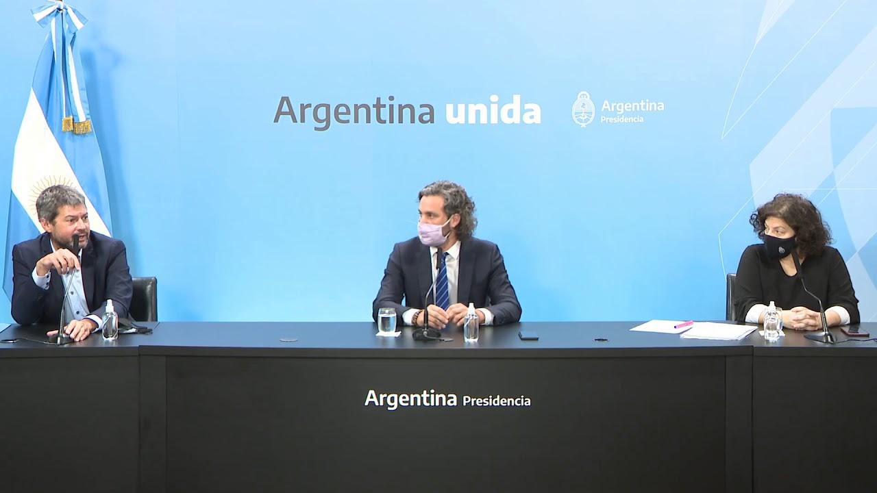 Conferencia de prensa de Santiago Cafiero, Carla Vizzotti y Matías Lammens