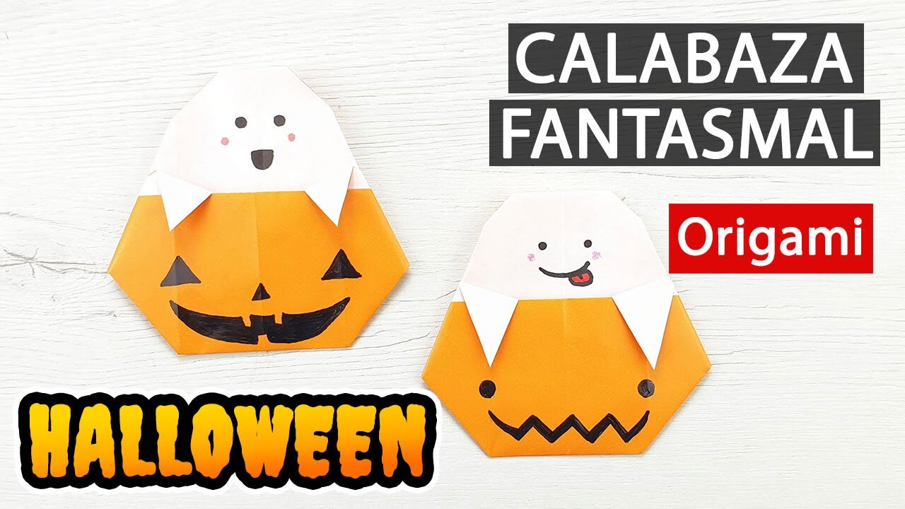 Origami de Halloween - Fantasma saliendo de calabaza con 1 hoja de papel