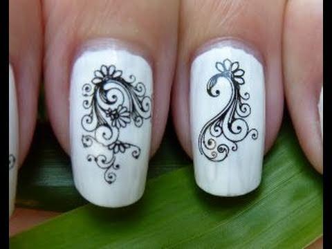 water decal black & white swirl