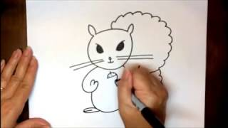 How To Draw A Cartoon Squirrel Easy Step By Step Tutorial