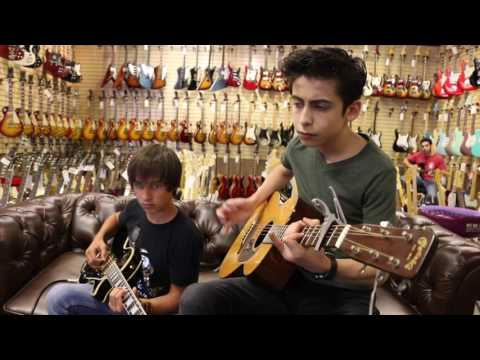Aidan Gallagher & Jack Martino playing our 1962 Martin 018 & Gibson Jimmy Page Les Paul Custom
