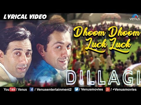 Dhoom Dhoom Luck Luck - LYRICAL VIDEO | Sunny, Bobby Deol | Dillagi | 90's Blockbuster Song