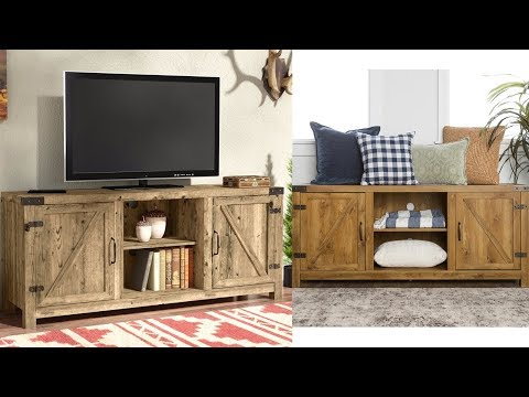 Industrial TV Stand Barnwood Rustic Entertainment Center Storage Furniture New