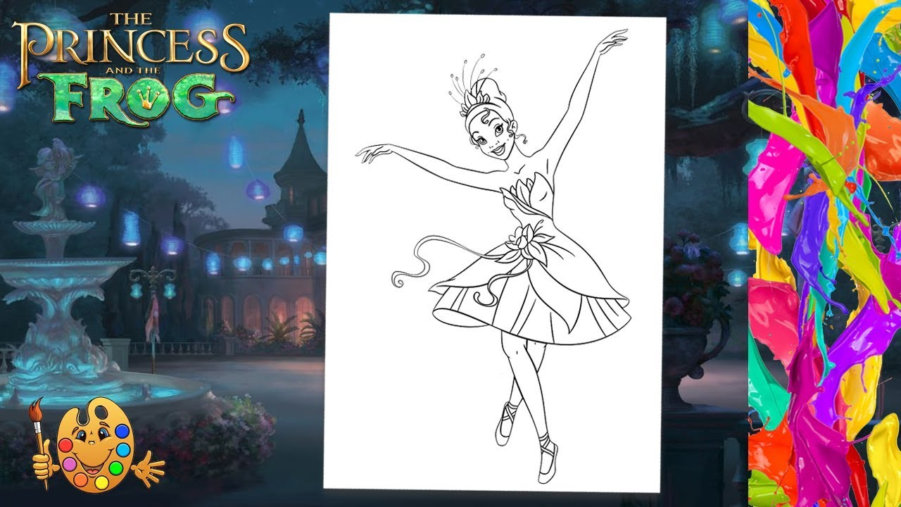 The Princess And The Frog Disney Princess Tiana Coloring Pages For Kids Coloring Book Youtube