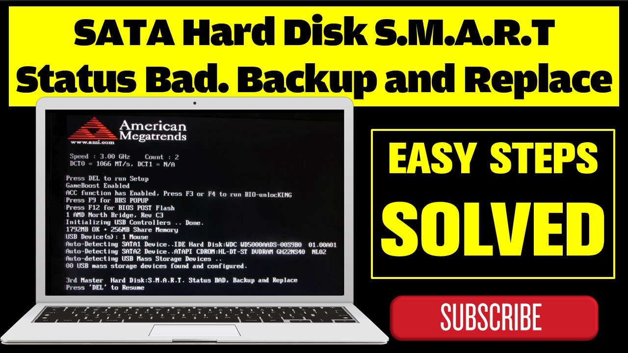 sata hard disk s m a r t status bad backup and replace youtube
