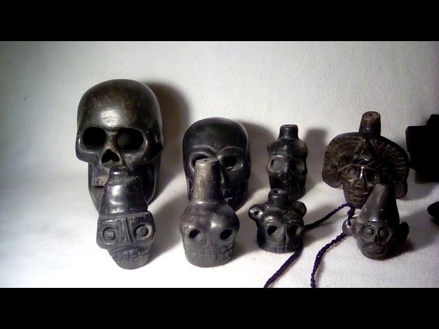 Jet black Aztec death whistles