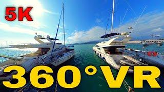 360° VR Volos Port Greece Walking Tour Travel Vlog Visit Yachts Harbour 5K 3D Virtual Reality HD 4K