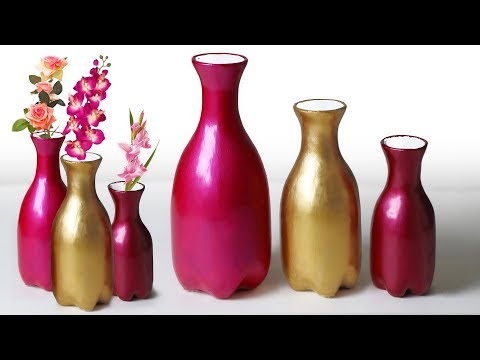 Very Easy flower vase making with plastic bottle || Plastic bottle flower vase