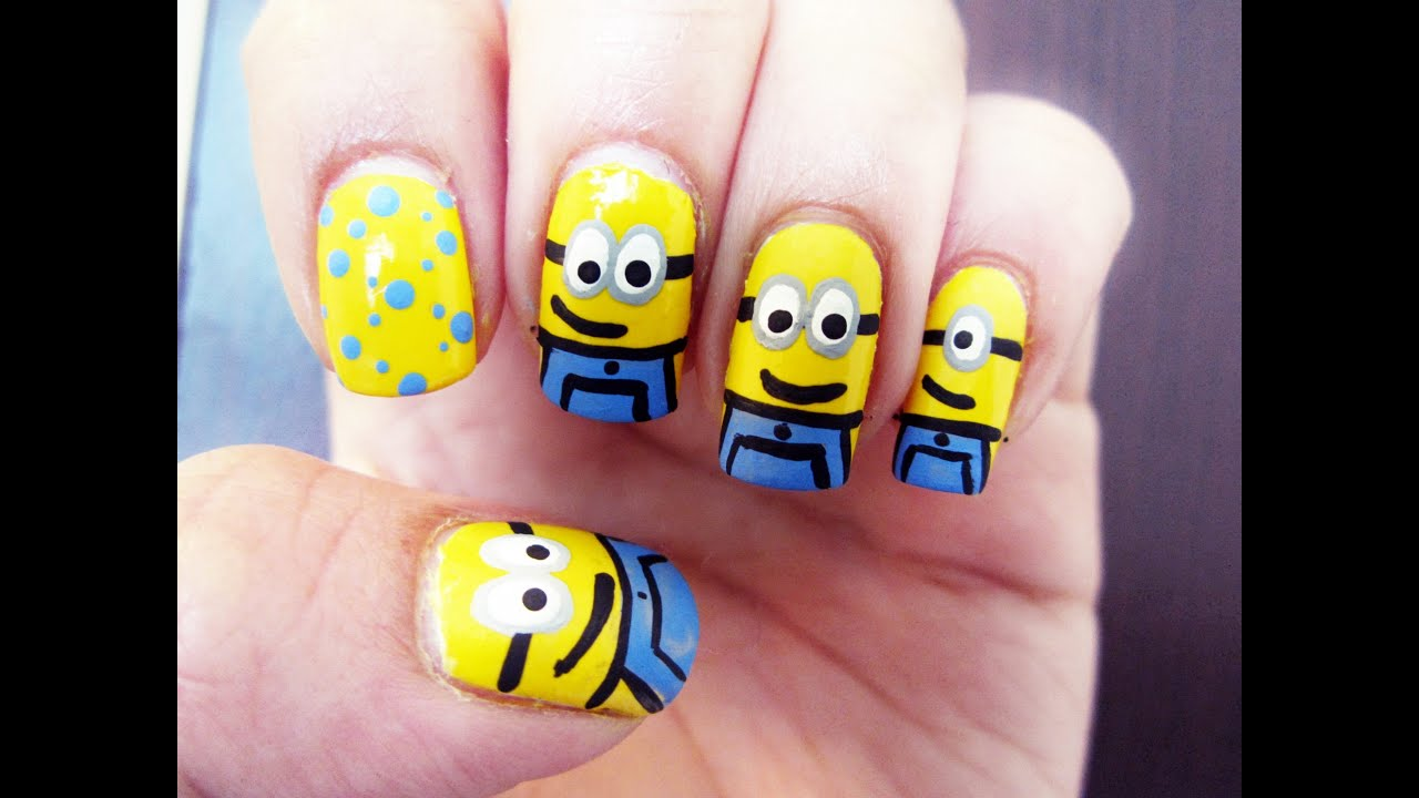 Minions nail art youtube prinsesfo Images