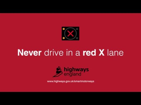 Never drive in a red X lane