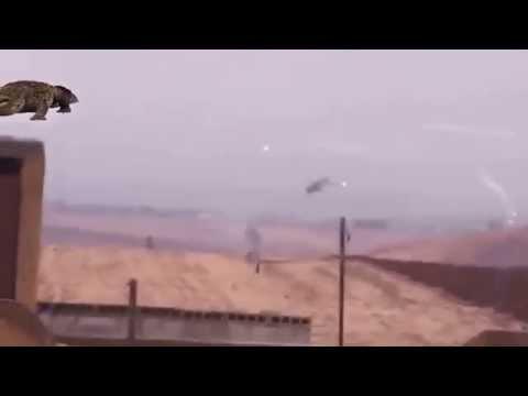 Russian Mi 24 Helicopter Dodging Igla Stinger Sam missiles in Syria