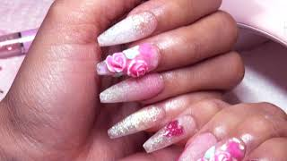 Pink Hearts, 3D Roses & Big Bling Acrylic Nails #MGValentine
