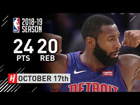 Andre Drummond Full Highlights Pistons vs Nets 2018.10.17 - 24 Pts, 20 Reb, NASTY!