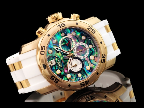 Invicta 24840 48mm Pro Diver Scuba Abalone Dial 18kt Gold Plated Quartz Chronograph Strap Watch