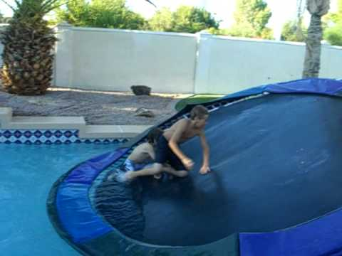 Trampoline in the pool youtube - Swimming pools above ground near me ...
