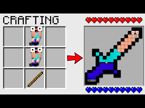 HOW TO CRAFT a NOOB SWORD in MINECRAFT? SECRET RECIPE *O*