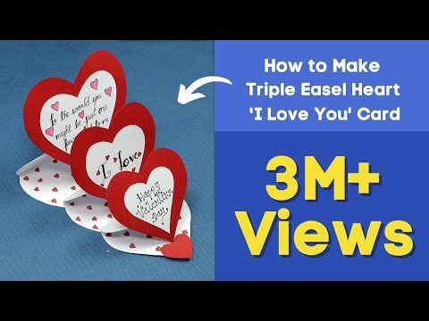DIY Valentine Card - How to Make Triple Easel Heart 'I Love You' Card