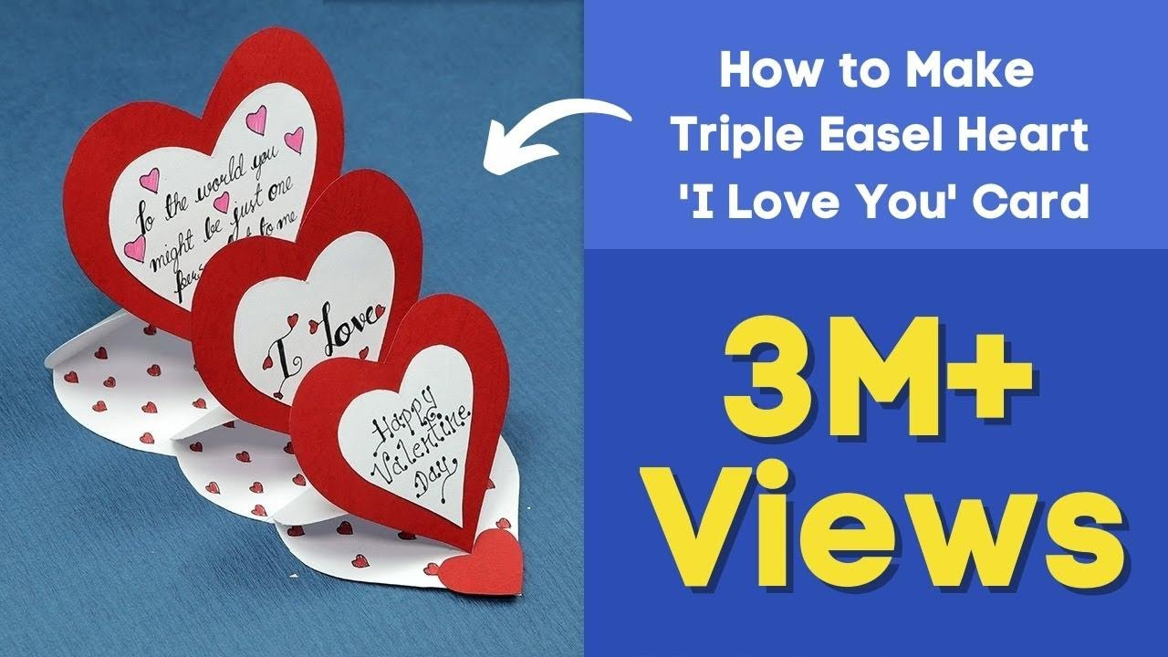 DIY Valentine Card   How To Make Triple Easel Heart U0027I Love Youu0027 Card    YouTube