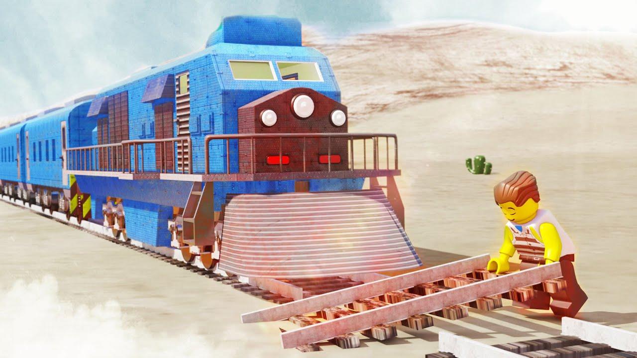 Lego Thief Removing track for Rob the Train - Lego movie animation - choo choo train kids videos
