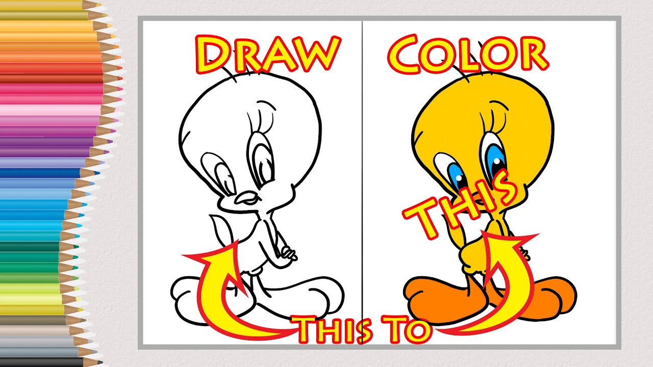 - How To Draw And Colour Cartoon Tweety Bird Easy Step By Step