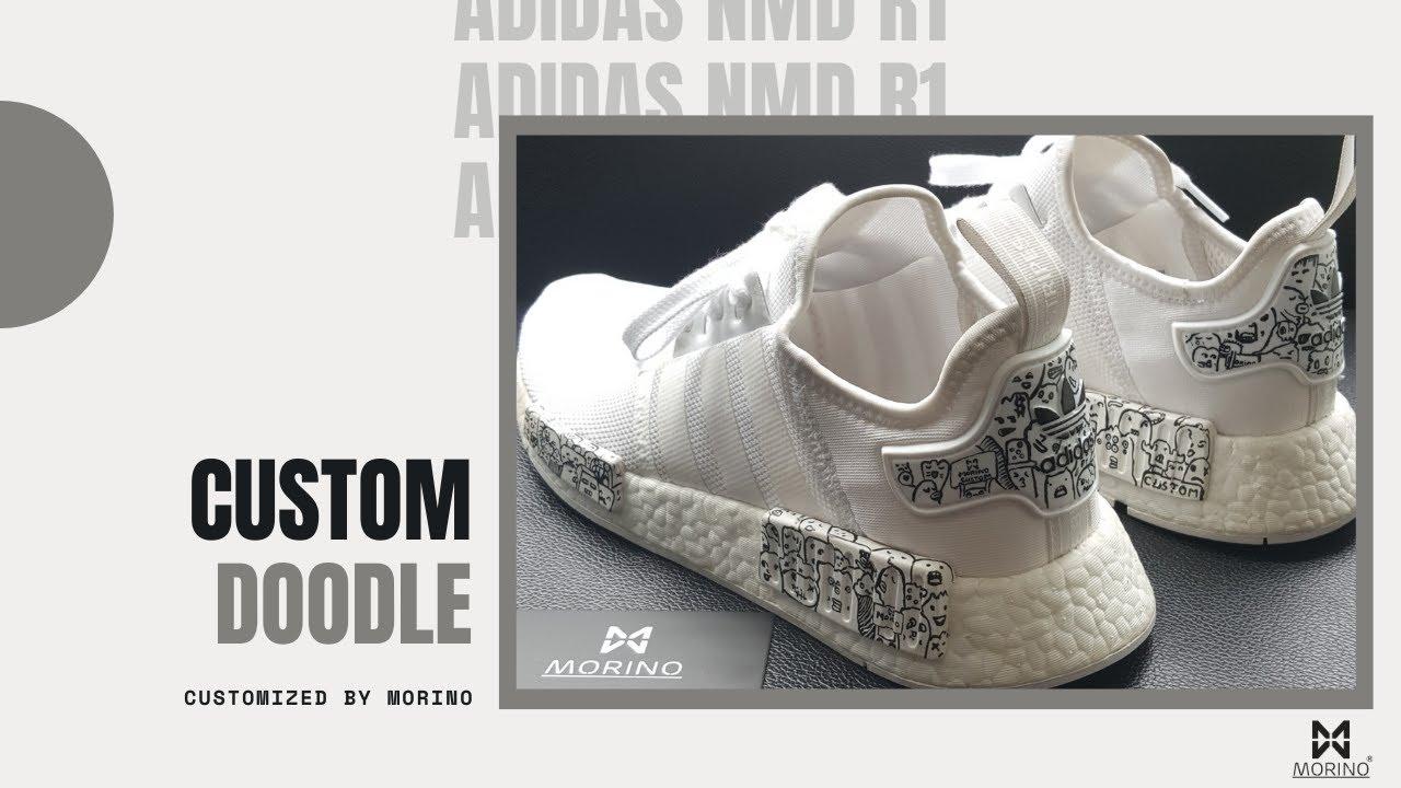 f985b62ebe4c3 Customs  Adidas NMD R1 All White Custom Doodle By  COF  MORINO - YouTube