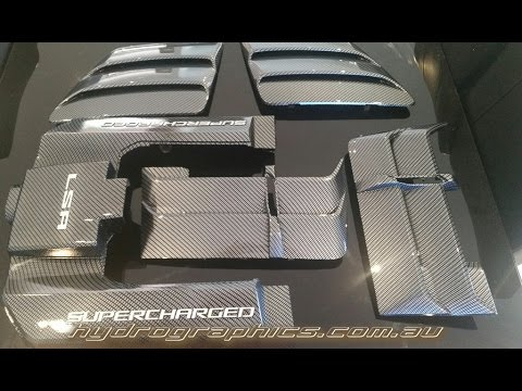 Hydro dipping Carbon fibre engine covers using Water Transfer printing