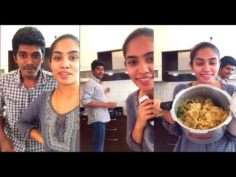 Arun & Sanjana _(Dubsmash) & Real Couple _ Arun cooking Fun Tamil Video