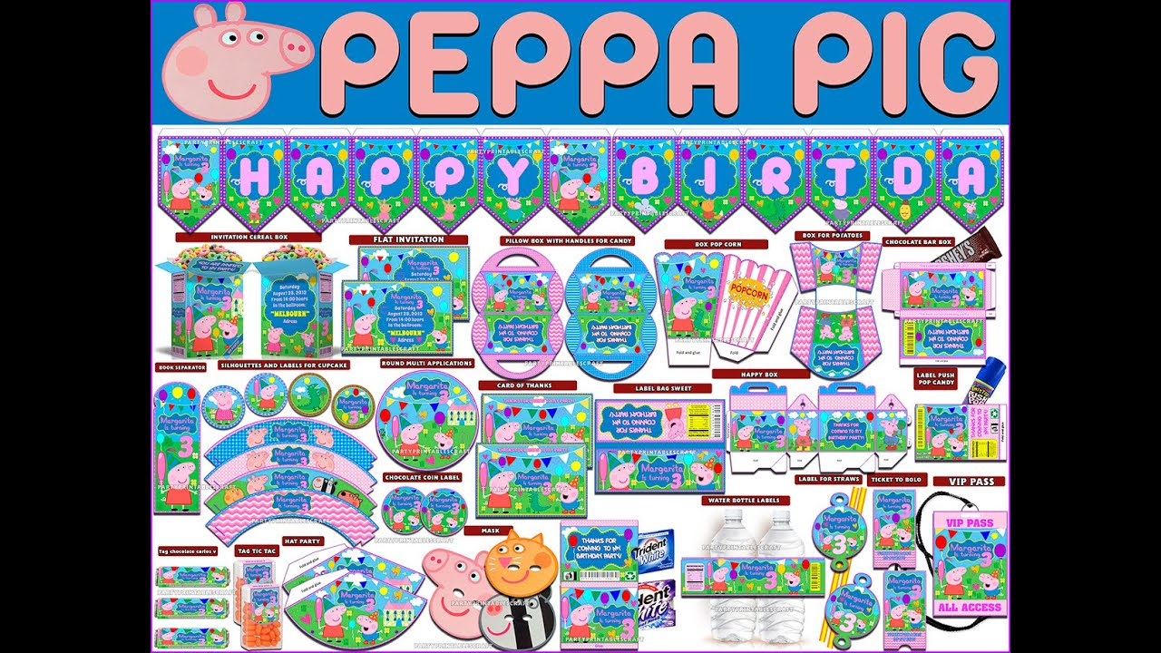 Video Kit party printable and editable Peppa Pig - YouTube
