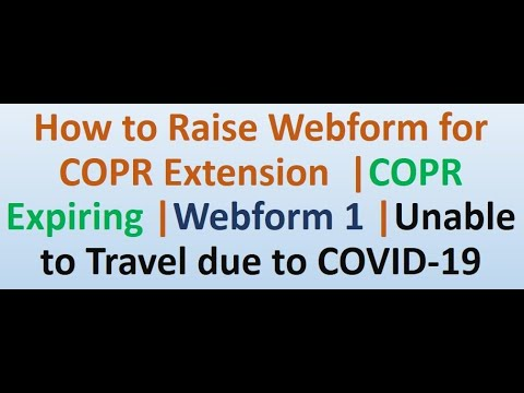 COPR Extension IRCC WEBFORM | COPR EXPIRING | Unable To Travel Due To Covid-19 | COPR EXPIRED