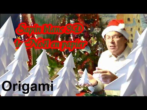 Sapin blanc 3D de Noël en papier | Origami facile avec les enfants ...