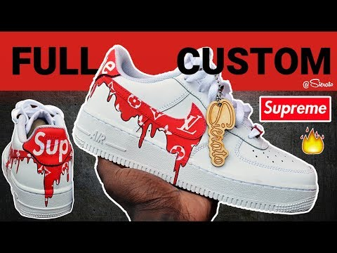 Custom Supreme LV Drip Air Force Ones for Kristen Hancher! W/ On Foot