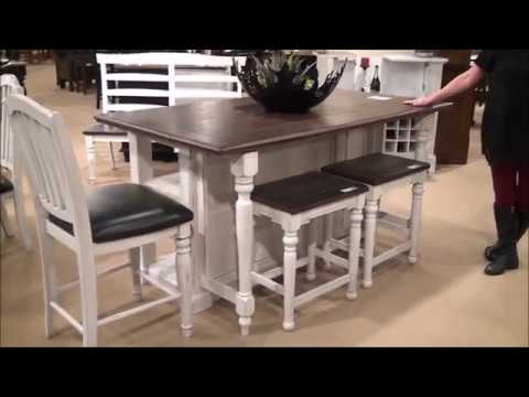 Bourbon Country Kitchen Island Dining Set By Sunny Designs