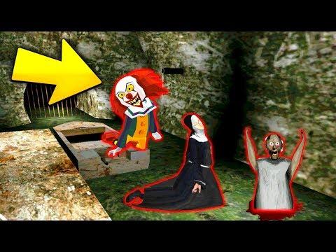 "КЛОУН ""ОНО"" ПЕННИВАЙЗ КОНЦОВКА и МОНАХИНЯ в ГРЕННИ Сосед - Clown Neighbor Gang Granny"