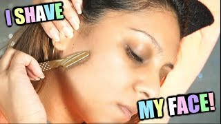 I SHAVE MY FACE ...0MG │SHAVING MY SIDEBURNS, PEACH FUZZ, MUSTACHE AND FOREHEAD!│WHY I SHAVE MY FACE