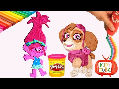 How to make PLAY DOH Skye and Princess Poppy Playdough modelling clay.