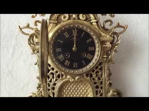 Stunning Large Antique French Pierced Brass Ormulo Boulle Mantel Clock