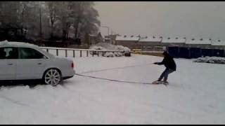 vorsprung durch technik audi in snow towing idiots on a tyre video 3