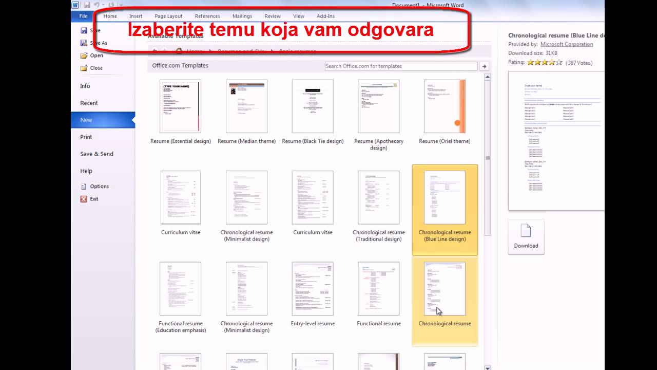 Kako Napraviti Cv Radnu Biografiju U Wordu Word 2010 Youtube