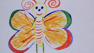 Как нарисовать вилкой бабочку?(Привет меня зовут Таня! В этом видео я покажу необычный способ рисования бабочки с помощью вилки и кисточк..., 2016-11-15T05:00:18.000Z)