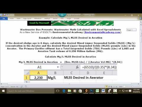 Calculate Mg/L MLSS Desired in Aeration
