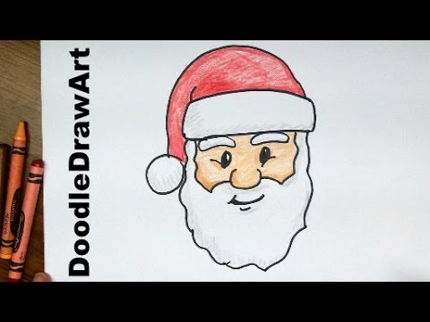 how to draw santa claus face step by step lesson cartoon easy beginners with coloring page youtube