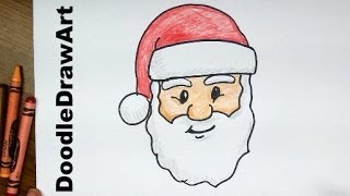 Drawing: How To Draw Santa Claus Face! Step by Step Lesson cartoon easy beginners