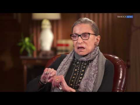 Ruth Bader Ginsburg being interviewed by Katie Couric