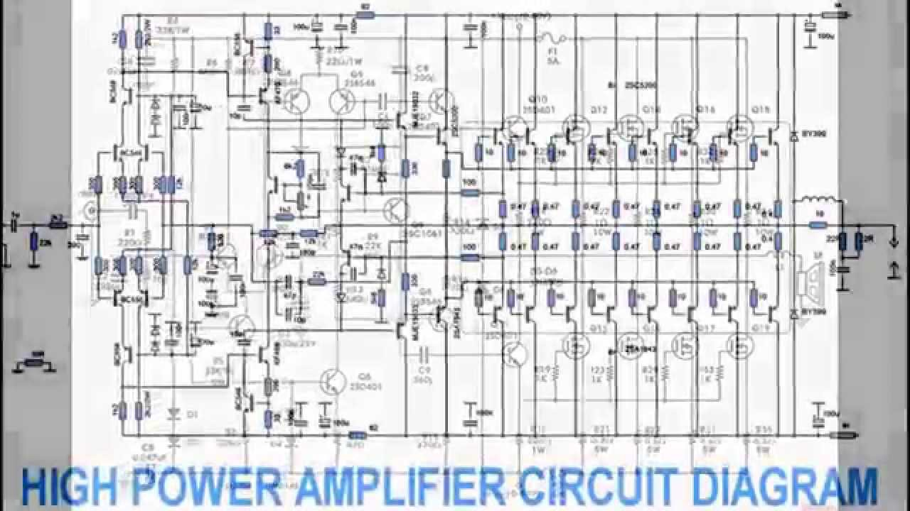 2000 watts power amplifier schematic diagram hsh wiring design youtube electronic project diagrams