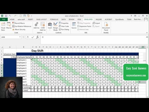 Automatically create shift schedule in Excel