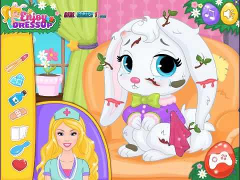 доктор Барби лечит милого кролика игры для девочек и мальчиков онлайн # 1