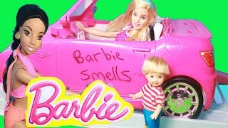 BARBIE SMELLS! Car Wash PRANK Disney Frozen Kids Joke Barbies Elsa Family Funny Toy Parody Video